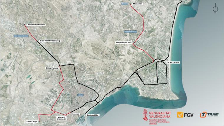 La Generalitat presenta nuevos trazados del TRAM d'Alacant por valor de 165 millones de euros