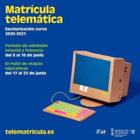 Educación activa el 8 de junio la admisión telemática en la web telematricula.es
