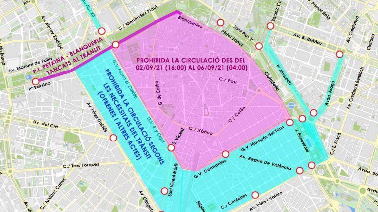 Los actos falleros obligarán a restringir la circulación en el centro de Valencia entre los días 2 y 6 de septiembre