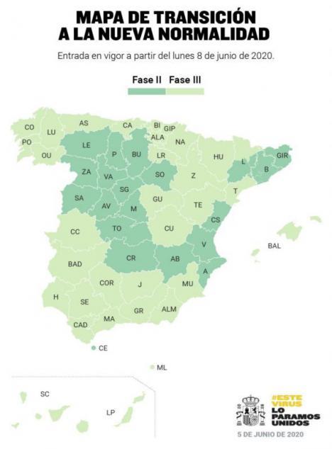 Más de la mitad de España estará el lunes en la fase 3 de la desescalada